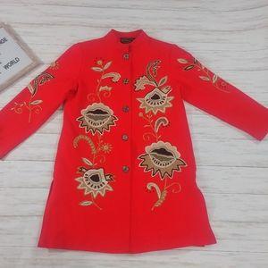Alex Kim Red Embroided Blazer Top Coat